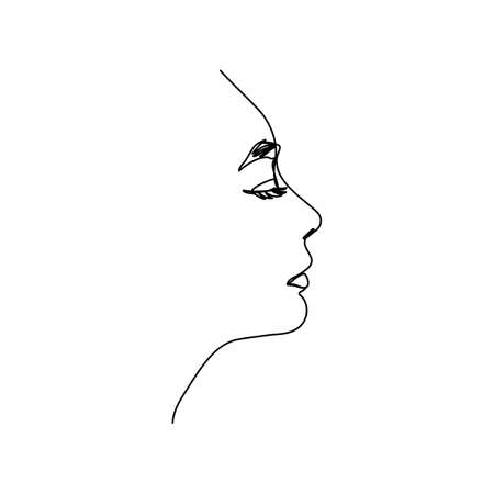 One line woman's face. A continuous line of Female Portrait in profile in a modern minimalist style. Vector illustration for wall art, printing on t-shirts