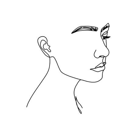 One line woman's face. A continuous line of female portrait in profile in a modern minimalist style. Vector illustration for wall art, t-shirt print