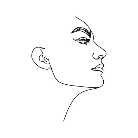 One line woman's face. A continuous line of female portrait in profile in a modern minimalist style. Vector illustration for wall art, t-shirt prints