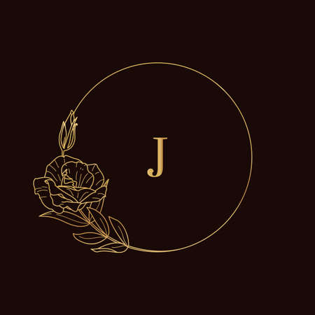 Golden frame of Lisianthus branches. Round icon in a trendy minimalistic linear style. Vector