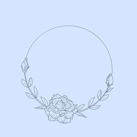 Frame of Lisianthus Flowers and branches. Round icon in a trendy minimalistic linear style. Illustration