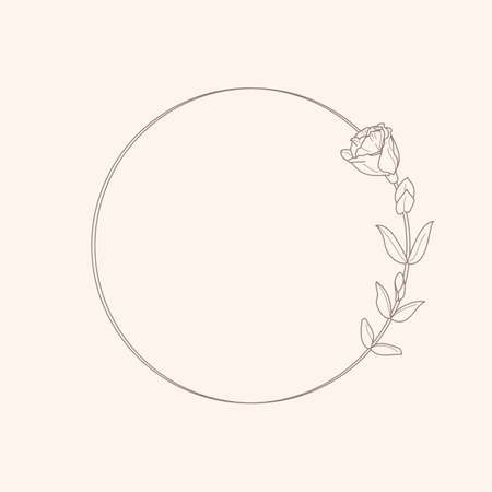 Circle frame of Lisianthus Flowers and branches. Round icon in a trendy minimalistic linear style.  Floral Emblem. Illustration