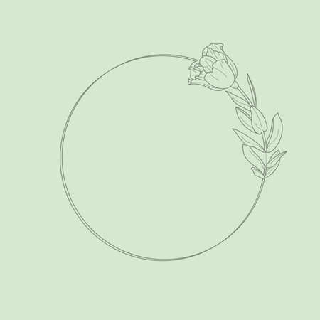 Circle frame of Lisianthus Flowers and branches. Round icon in a trendy minimalistic linear style.