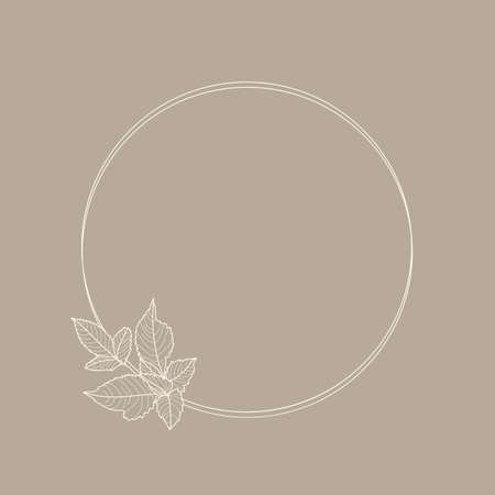Circle frame of Dahlia Flowers and Branches. Round Icon in a Trendy Minimalistic linear style. Vector Floral wreath Illustration