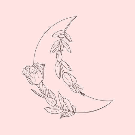 Floral Moon of Lisianthus Flowers in a trendy minimal linear style. Vector Crescent outline icon Illustration