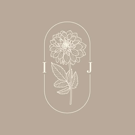 Wedding Monogram with Dahlia Flowers in Trendy Minimal Liner Style. Vector Floral template for Invitation Cards, Save the Date, tattoo designs, identity for spa, boutique and store