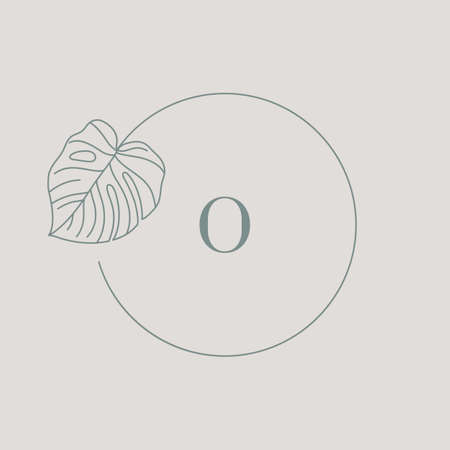 Monstera leaf Monogram design in simple minimal linear style. Vector Exotic Floral Circle Wreath with Tropical leaves for Beauty, SPA salon, Creative Studio