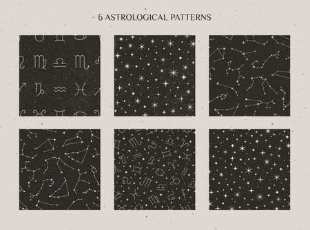 Set of Zodiac Constellations and Astrology Signs Seamless Pattern on the black background. Vector Cosmic backdrops.
