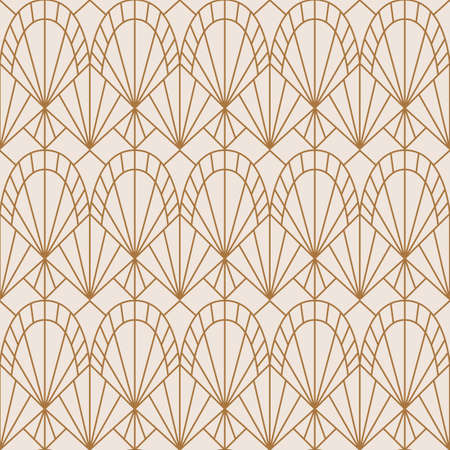 Art Deco Seamless Pattern in a Trending minimal Linear Style. Vector Abstract Geometric background Çizim