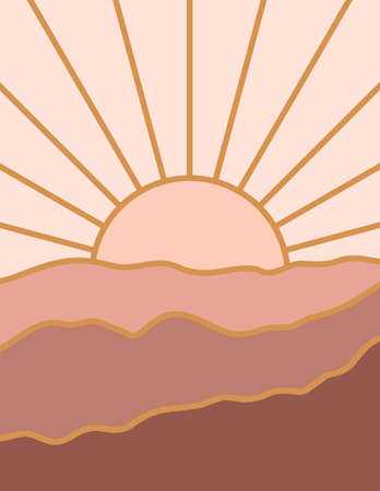 Abstract Landscape of Mountains with the Moon in a Minimal Trendy Style. Vector Background in Terracotta Colors for covers, Posters, Postcards, social media Stories. Boho Art Prints.