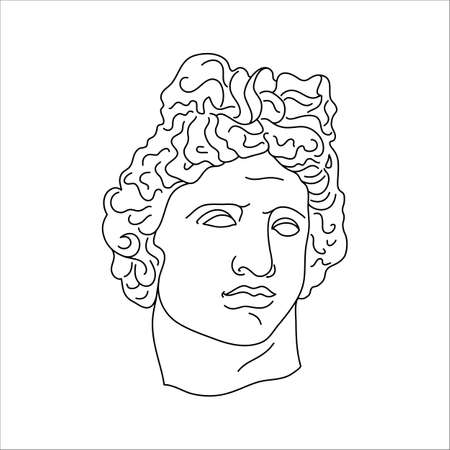 Antique Sculpture of Apollo in a Minimal Liner Trendy Style. Vector Illustration of the Greek God for Prints on t-Shirts Vector Illustration