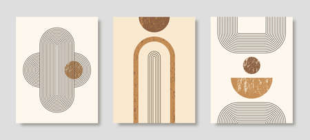 Set of Abstract Modern Art Backgrounds with simple geometric shapes of lines and circles. Boho Vector Illustration