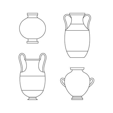 Greek Vases in A Trendy Minimal Linear Style. Vector Illustrations of various Clay Vessels