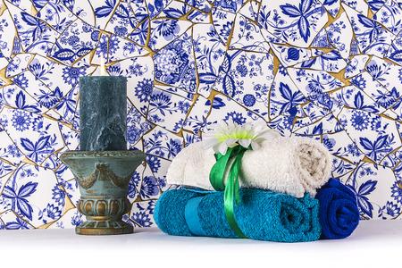 delftware: Towel set in a Turkish hammam Stock Photo