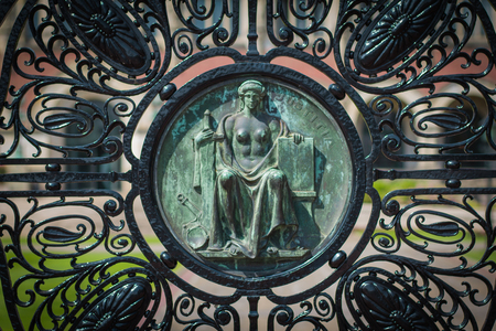Alloy gates of the Peace Palace  in The Hague. Justice