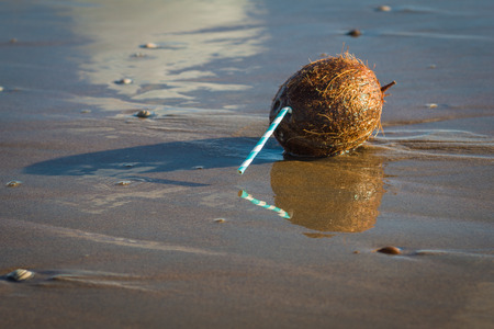The summer ia almost gone. Coconut with straw lying in sea water at the empty beach in the quiet evening.