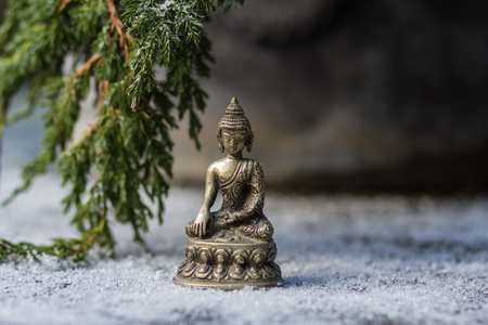 Statuette of metal Buddha and branch of fir-tree in the snow