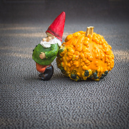 Little funny gnome sculpture is leaning on a big orange pumpkin in the garden on a gray blurry background.