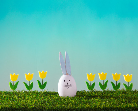 tulips in green grass: seeriful  rabbit with tulips on the green grass and turquoise background Stock Photo