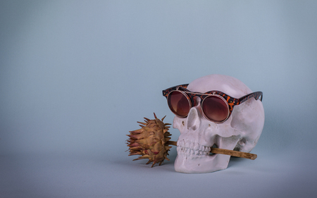 Love confession. Skull with sunglasses and thistles in his teeth on the blue background