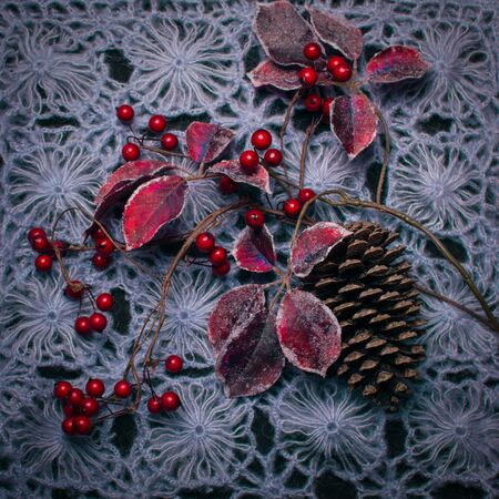 Winter composition of red berries, pine cone and wool textile background