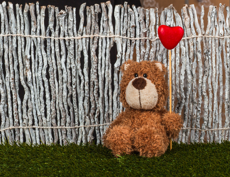 Cute teddy bear is sitting with heart on the grass near the fence.