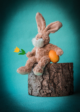 Easter teddy rabbit with yellow tulip and egg sitting on the stump, turquoise background, close-up