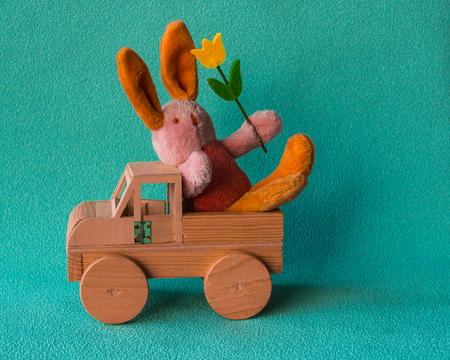 Teddy rabbit with yellow tulip on the turquoise background sitting on the  wooden toy car. Stock Photo