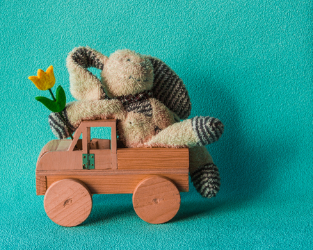 Teddy rabbit on the turquoise background sitting on the  wooden car toy, horizontal