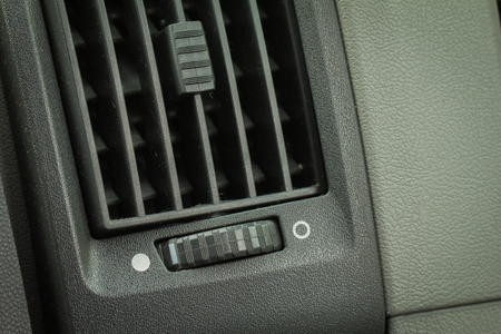 Plastic display of car with dirty aircon. Stock Photo