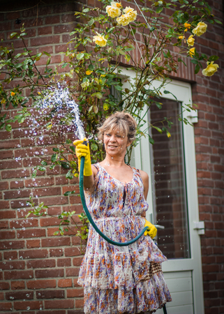 Attractive women gives water the yellow roses in her garden. Stock Photo