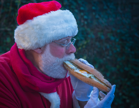Santa Claus eating big sandwich with savor in the garden early morning. Healthy breakfast concept Stock Photo