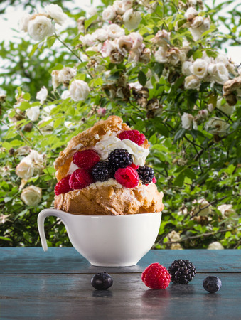 Dessert cake with whipped cream and berries al fresco in the summer garden