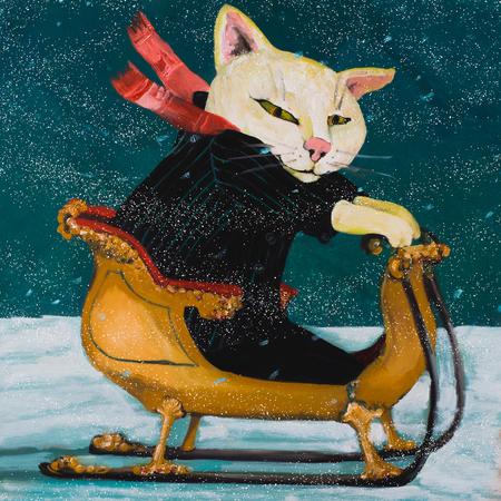 Happy cat in a sled. cozy winter scene, illustration, oil painting, art for kids.winter scene, illustration, oil painting, art for kids. Funny illustration hand drawn 写真素材
