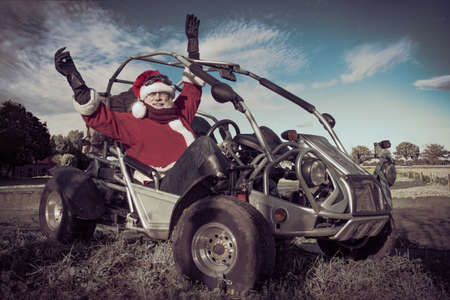 Happy Santa Claus drives a buggy, close-up Stock fotó - 150634654