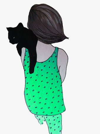 Young woman in green pyjama with pattern holds a black cat. Having fun home morning or sleepless night, concept.