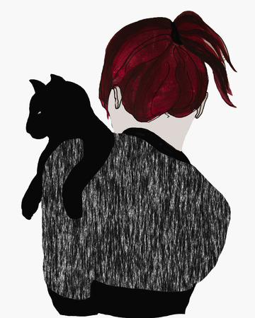 Young woman with a black cat. View from back, white  background. cartoon hand drawn vector illustration.