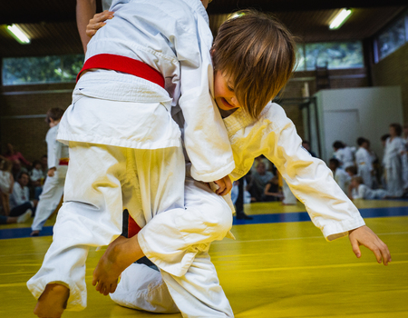 competition at judo school, two little wrestling boys in the fight, effort and attainment. Standard-Bild