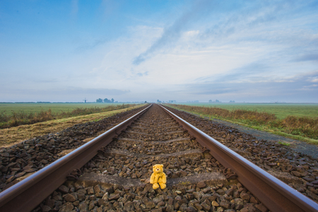 Cute teddy bear, soft toy, sitting on the wide rails, perspective view. Far away on the horizon, beautiful blue sky, green grass and windmill.  landscape of Friesland province, Netherlands