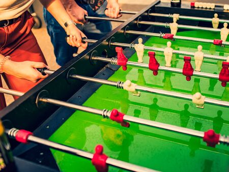 Table football game. Close up, diagonal composition, view from above.