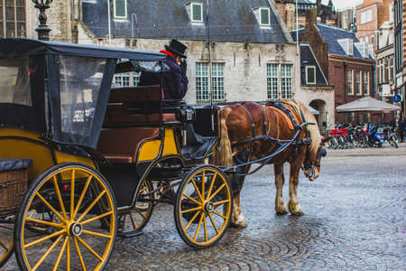 Dam Square is a city square in Amsterdam. Horses with a coachman as a traditional transport for tourists.