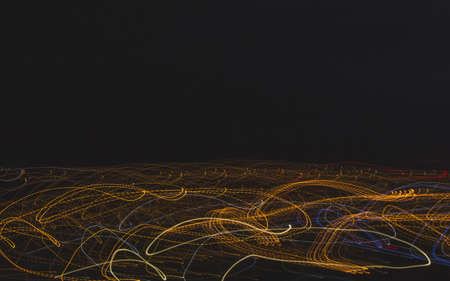 Abstract night lights lines motion background with copy space. Abstract light trail.