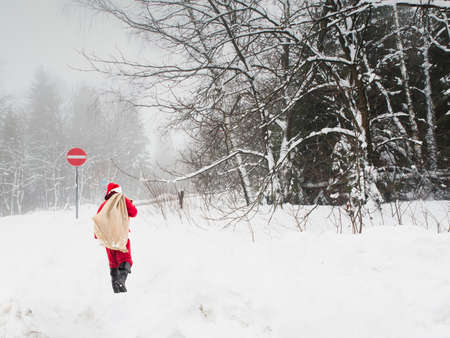 Santa Claus with a big bag of gifts walks through the winter forest off-road. White background with trees and copy space.