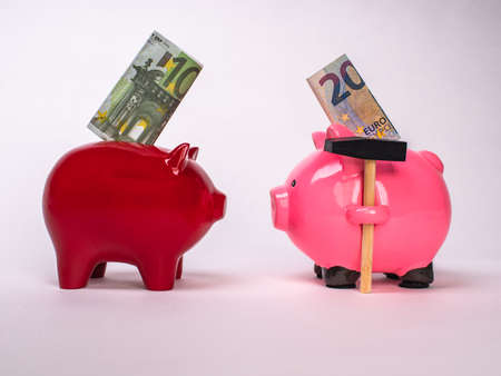 Two piggy banks red and pink opposite each other. Business and competition.