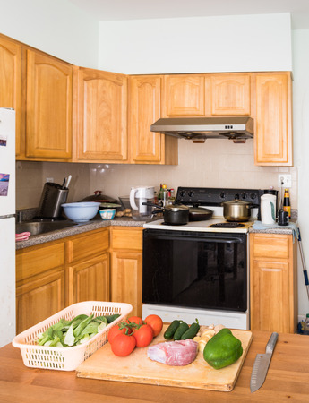 healthy food in kitchen Stock Photo