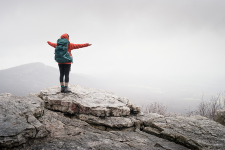 pinnacle: hiker at mountain top