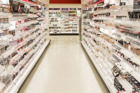 beauty shop: Philadelphia, United States - July 31, 2016: cosmetic shelves in a deparment store