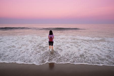 traveler enjoys the summer beach Stock fotó