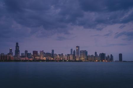 Chicago skyline at dawn