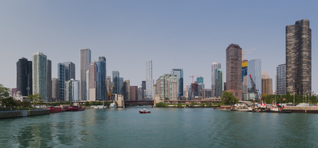 Chicago city skyline from water